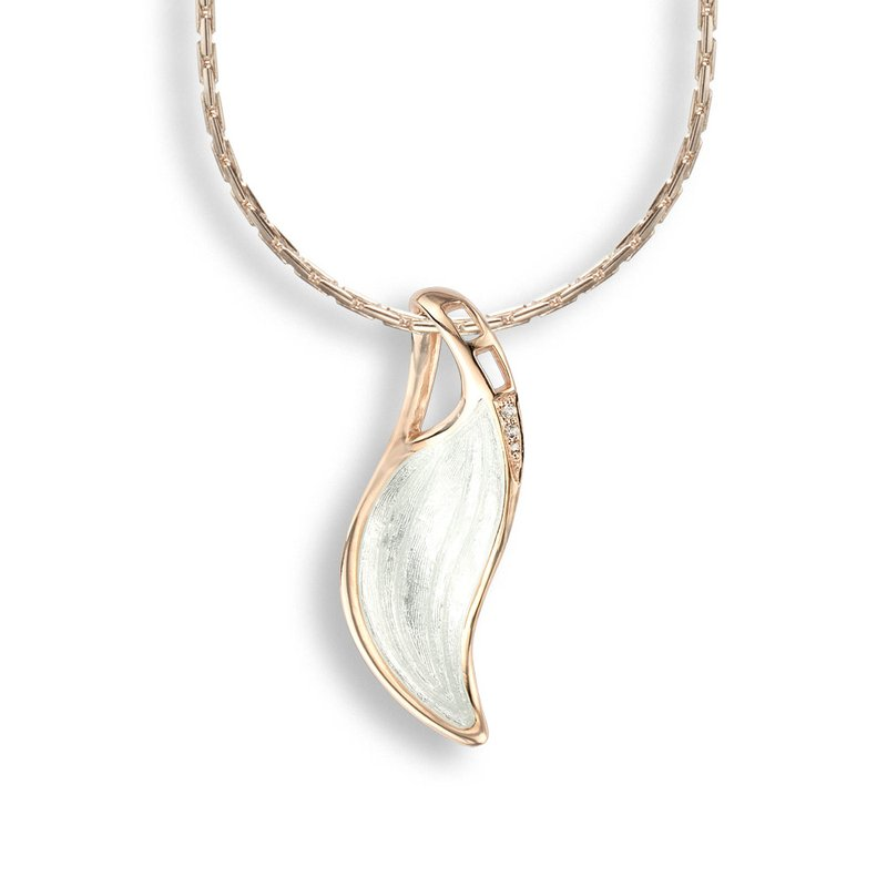 Nicole Barr Designs White Wave Necklace.Rose Gold Plated Sterling Silver-White Sapphire