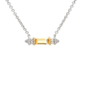 18kt and Sterling Silver Citrine Diamond Necklace