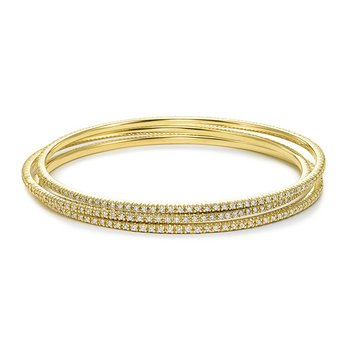 Diamond Slip-On Bangle in 14k Yellow Gold with 105 Diamonds weighing 1.00ct tw.