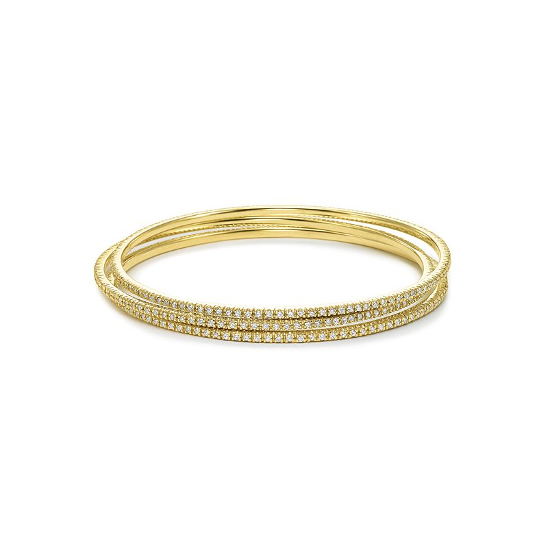 KC Designs Diamond Slip-On Bangle in 14k Yellow Gold with 105 Diamonds weighing 1.00ct tw.