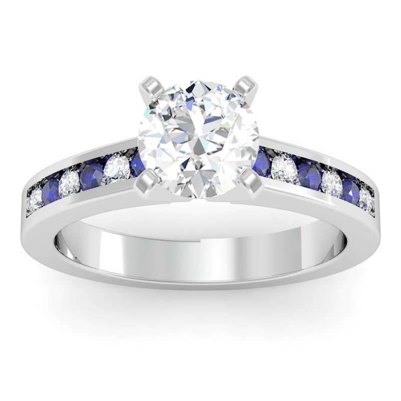 California Coast Designs Channel set Blue Sapphire and Diamond Engagement Ring