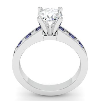 Channel set Blue Sapphire and Diamond Engagement Ring