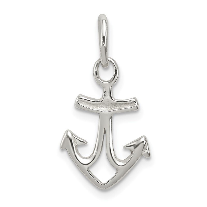 Quality Gold Sterling Silver Polished Anchor Charm