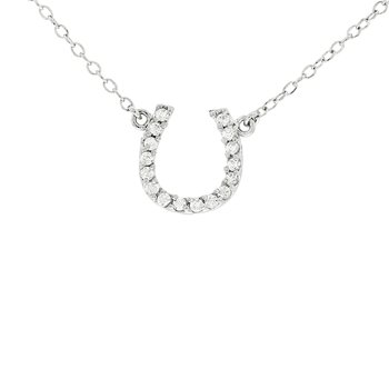 14k White Gold 1/10ct Diamond Horseshoe Necklace