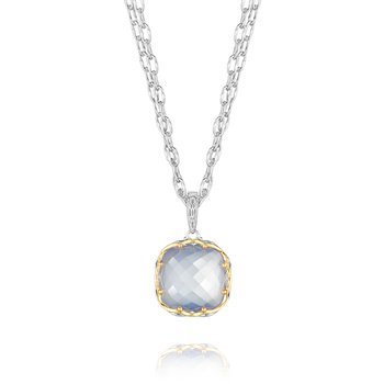 Cushion Cut Chalcedony Pendant Necklace
