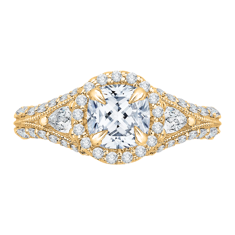 Carizza 14K Yellow Gold Cushion Diamond Halo Engagement Ring with Split Shank (Semi-Mount)