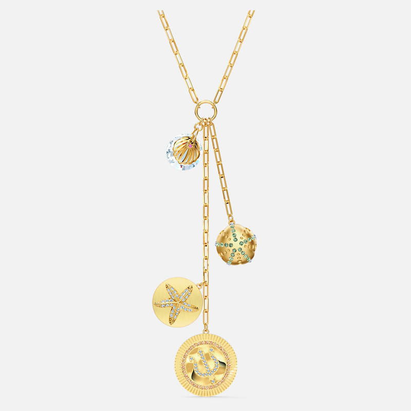 Swarovski Shine Y Necklace, Light multi-colored, Gold-tone plated