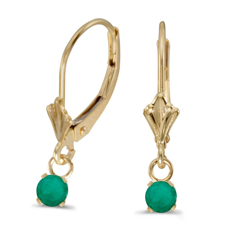 Color Merchants 14k Yellow Gold Round Emerald Lever-back Earrings