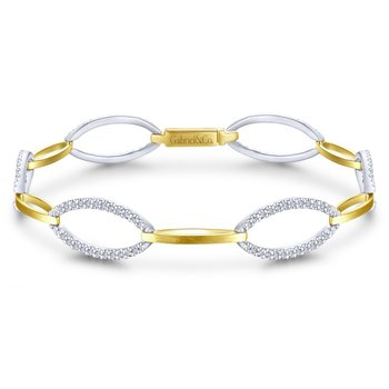 14K Yellow and White Gold Oval and Diamond Bracelet