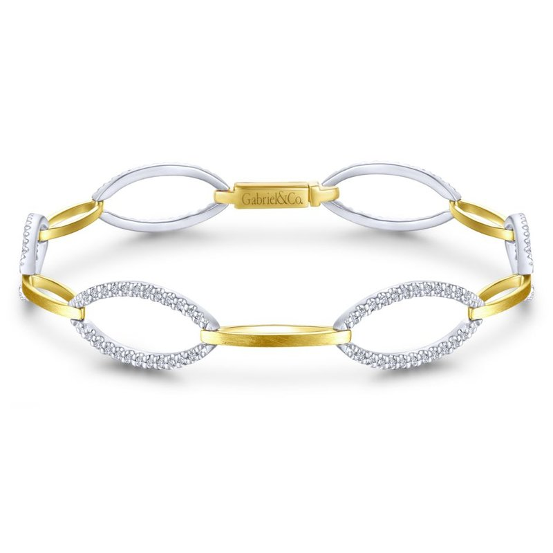 Gabriel Fashion 14K Yellow and White Gold Oval and Diamond Bracelet