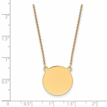 14k Plain .027 Gauge Circular Engravable Disc 18in Necklace