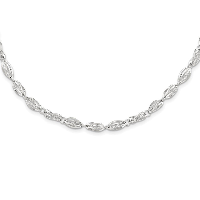 Quality Gold 14K White Gold Fancy Link Necklace