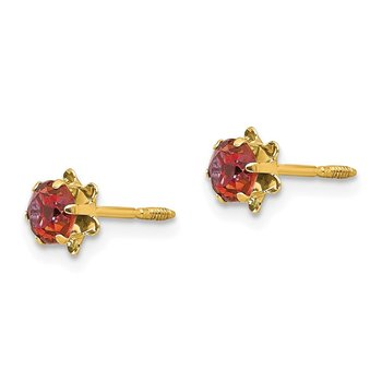 14k Madi K 4mm Synthetic Ruby (Jul) Screwback Earrings