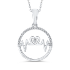 Essentials 10K White Gold .07 ct Round Diamond MOM Pendant with Chain