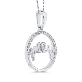 10K White Gold .07 ct Round Diamond MOM Pendant with Chain