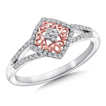 Diamond Ring in 14K White/Rose Gold (.15 ct. tw.)