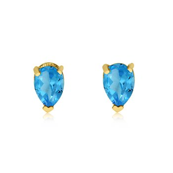 14k Yellow Gold Blue Topaz Pear-Shaped Earring