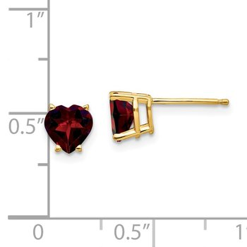 14k 6mm Heart Garnet Earrings