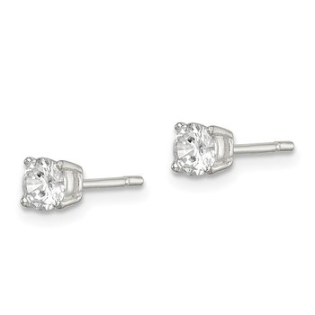Sterling Silver Polished 4mm CZ Post Earrings