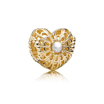 Vintage Heart, White Pearl & 14K Gold
