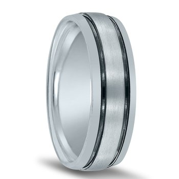 Men's Wedding Band N17011with Black Rhodium Grooves
