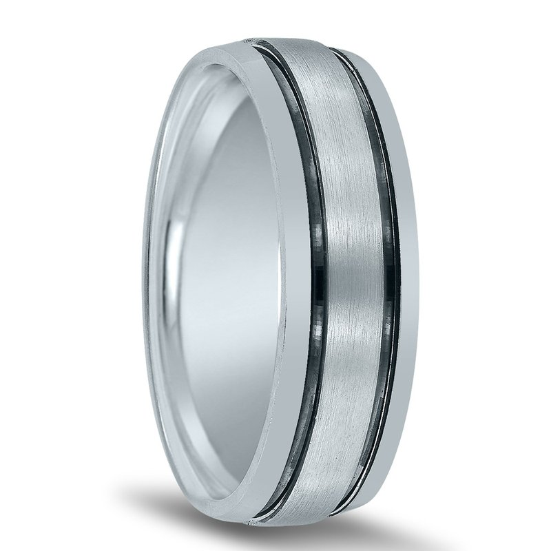 Novell Men's Wedding Band N17011with Black Rhodium Grooves