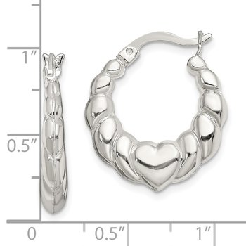 Sterling Silver Heart Scalloped Hoop Earrings