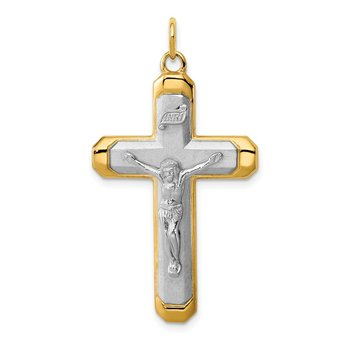 Sterling Silver Rhodium-plated Satin/Polished Vermeil Corpus Cross Pendant