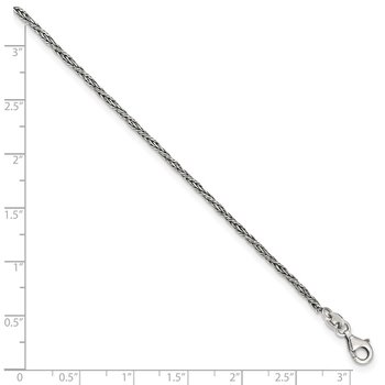 Sterling Silver 1.45mm Antiqued Anklet