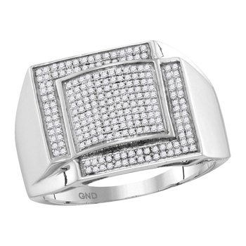 10kt White Gold Mens Round Diamond Square Cluster Ring 1/2 Cttw