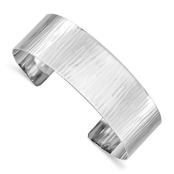 Sterling Silver Rhodium-plated Polished & Textured Cuff Bangle