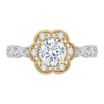 14K Tow-Tone Gold Round Cut Diamond Floral Halo Engagement Ring (Semi-Mount)