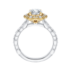Carizza 14K Tow-Tone Gold Round Cut Diamond Floral Halo Engagement Ring (Semi-Mount)