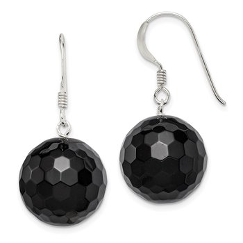 Sterling Silver 16.5mm Faceted Onyx Bead Earrings