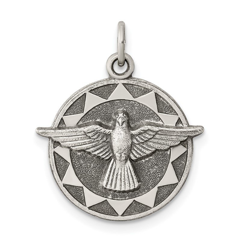 Quality Gold Sterling Silver Antiqued Holy Spirit Medal