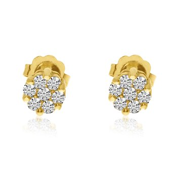 14k Yellow .25 Ct. Gold Clustaire Earrings