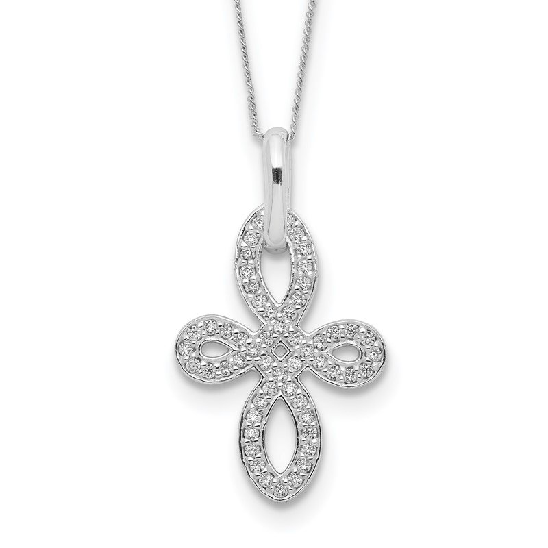 Quality Gold Sterling Silver CZ Cross Necklace