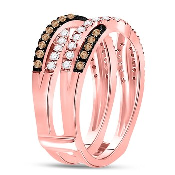 14kt Rose Gold Womens Round Brown Color Enhanced Diamond Solitaire Enhancer Wedding Band 1/2 Cttw