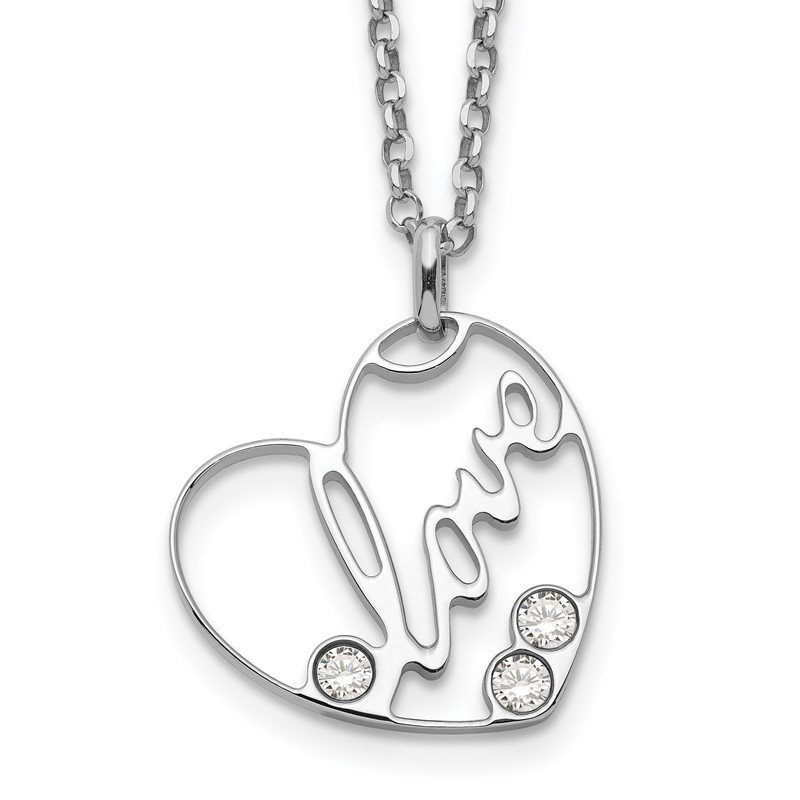 Quality Gold Sterling Silver CZ LOVE Heart Necklace