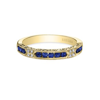 Sapphire Engraved Diamond Wedding Band