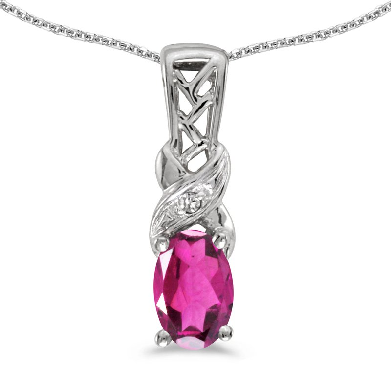 Color Merchants 10k White Gold Oval Pink Topaz And Diamond Pendant