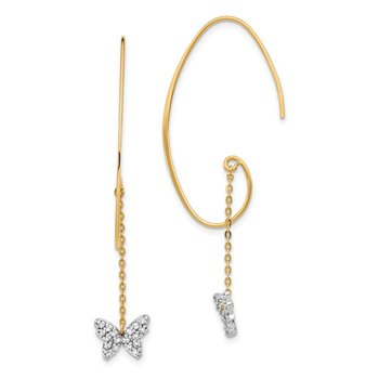 14K Two-tone CZ Butterfly Dangle Earrings