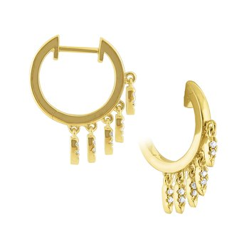 14k Gold and Diamond Small Fringe Earrings
