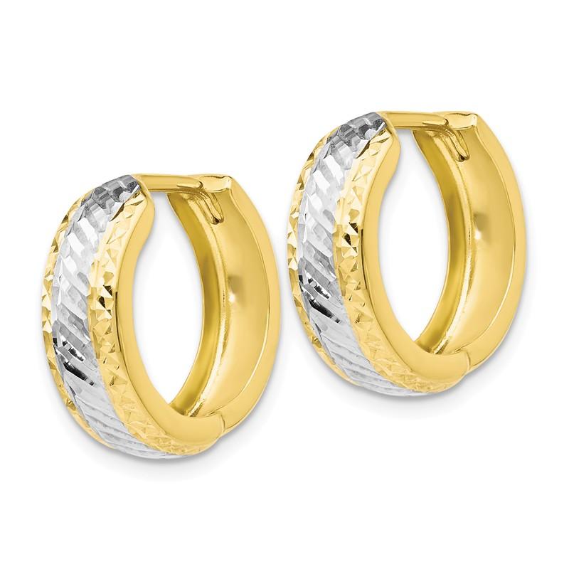 Leslies 10k Polished Diamond-cut Oval Hoop Earrings