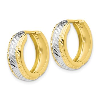 Leslie's 10K w/White Rhodium Polished and D/C Hoop Earrings