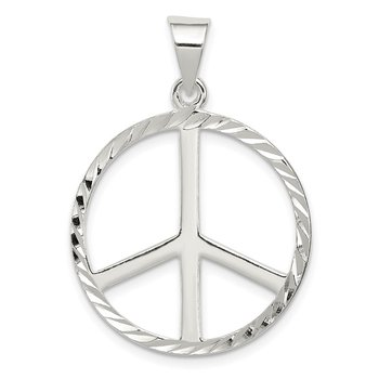 Sterling Silver Diamond-Cut Peace Symbol Pendant