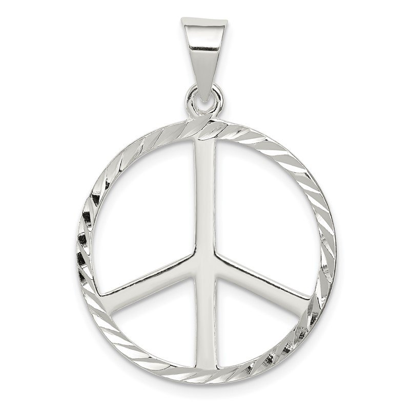 Quality Gold Sterling Silver Diamond-Cut Peace Symbol Pendant