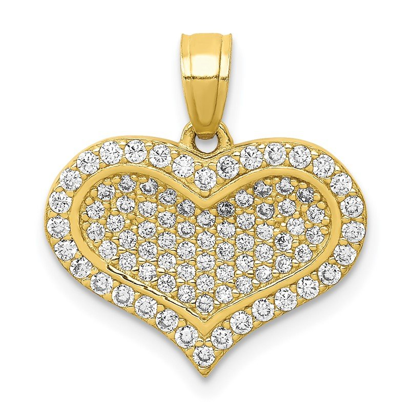 Quality Gold 10K CZ Micro Pave Heart Pendant