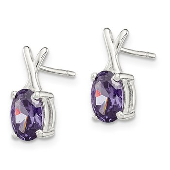 Sterling Silver Polished Purple CZ Post Earrings