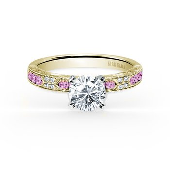 Pink Sapphire Diamond Solitare Engagement Ring